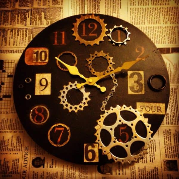 Repurposed Bike Parts into Industrial Clock Recycled Art Upcycled Bicycle Parts