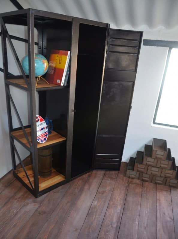 Industrial Wood & Metal Book Wardrobe Recycled Furniture