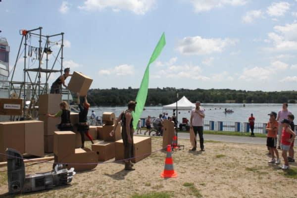 A 5 Meters High Cardboard Giant Gardener Recycled Art Recycled Cardboard