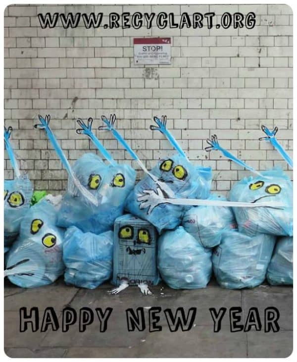 Happy New Year 2015 ! Interactive, Happening & Street Art Recycled Art