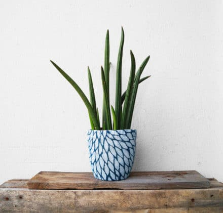 A Flower Pot With Recycled Sweater
