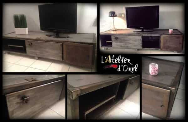 meuble industriel industrial tv stand recyclart. Black Bedroom Furniture Sets. Home Design Ideas