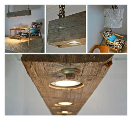 Rustic Hanging Wood Beam Light