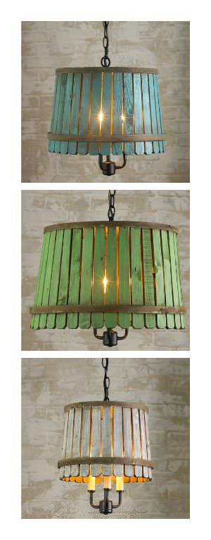 Reclaimed Bushel Basket Into Pendant Lamp