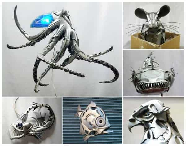 Upcycled Hubcaps into Animal Sculptures • Recyclart
