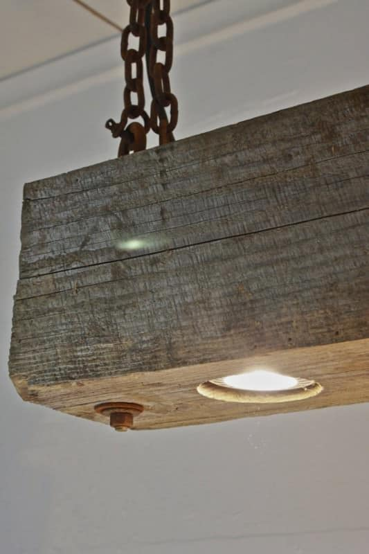 Rustic Hanging Wood Beam Light Recyclart