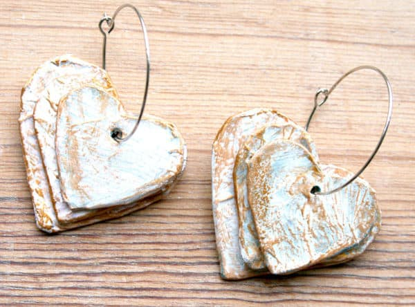 Paper Mache Hearts Earrings Upcycled Jewelry Ideas