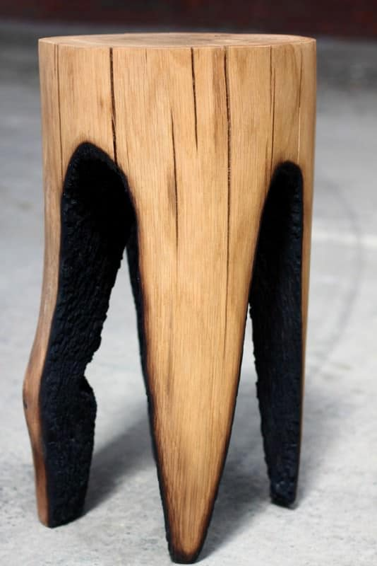 Burned Out Tree Trunk Stools by Kaspar Hamacher Recycled Furniture Wood & Organic