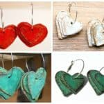 Paper Mache Hearts Earrings