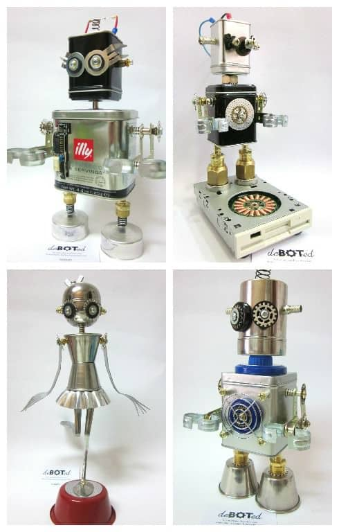 Deboted handmade robots android figures made with for Waste material object