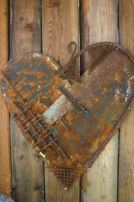 Heart Decoration From Scrap Metal Collage Recyclart