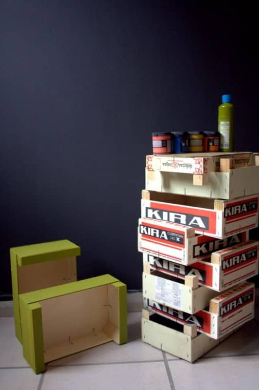 Colorful Fruit Crates as Wall Mounted Shelves Do-It-Yourself Ideas Wood & Organic