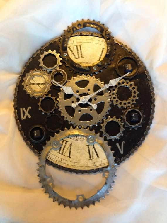 Upcycled Bike Parts Into Industrial Clock Upcycled Bicycle Parts
