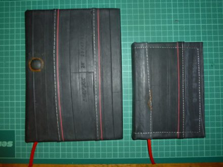 Bookbinding With Recycled Bicycle Tube