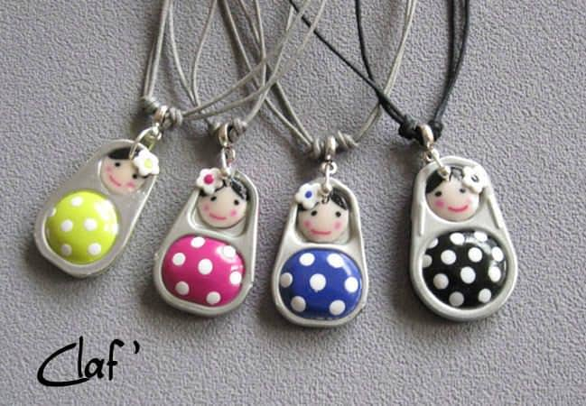 Soda Can Pop Tabs + Polymer Clay = Little Dolls Jewelry • Recyclart