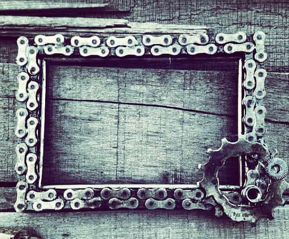 Custom Bike Chain Frame or Chalkboard Accessories Upcycled Bicycle Parts