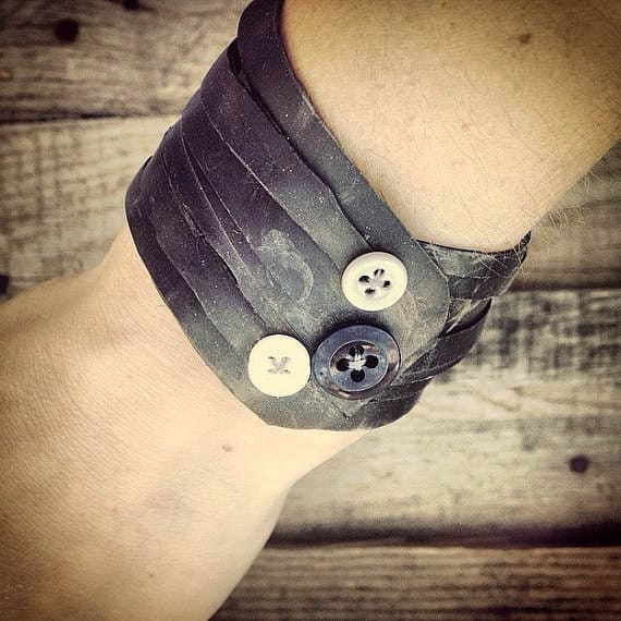 Custom Bike Innertube Bracelets Upcycled Bicycle Parts Upcycled Jewelry Ideas