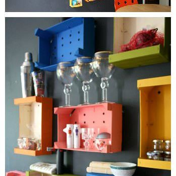 Colorful Fruit Crates as Wall Mounted Shelves