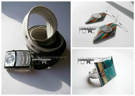 Jewelry And Accessories Made From Recycled Electronic Parts