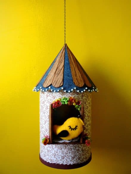 Birdhouse Made from Recycled Can, Scraps and a Cologne Box