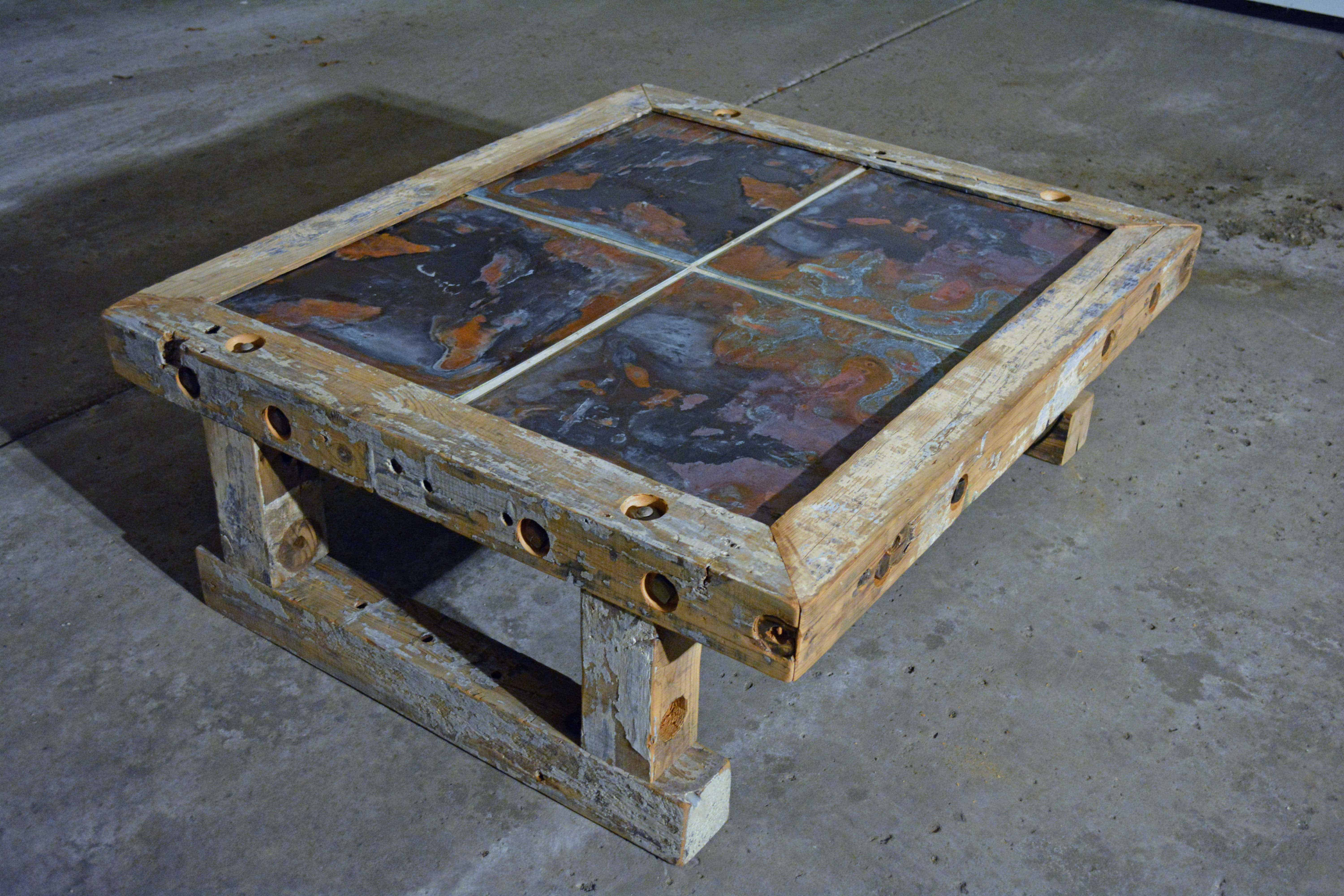 Reclaimed Industrial Timber Coffee Table • Recyclart