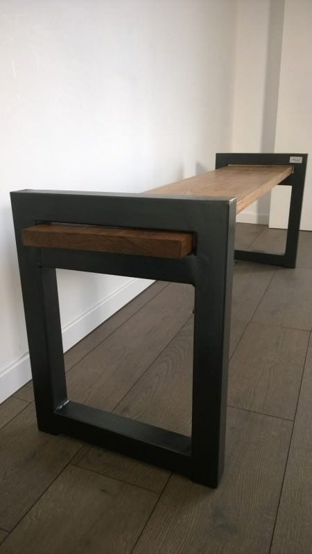 banc industriel design wood metal industrial bench recyclart. Black Bedroom Furniture Sets. Home Design Ideas