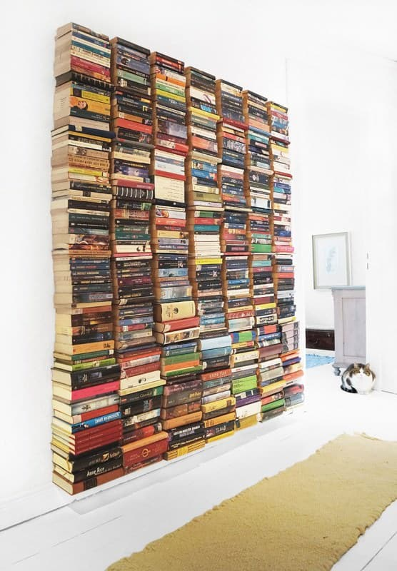 Floating Book Wall Do-It-Yourself Ideas Recycling Paper & Books