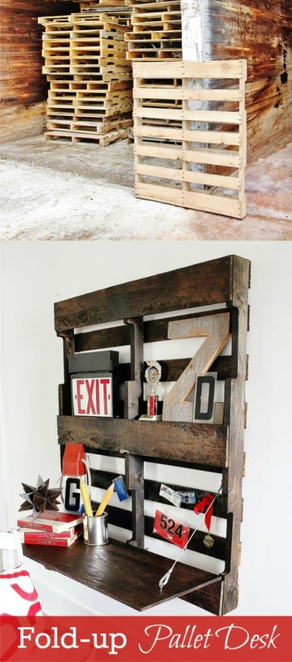 Diy Fold Up Pallet Desk Do It Yourself Ideas Recycled Pallets