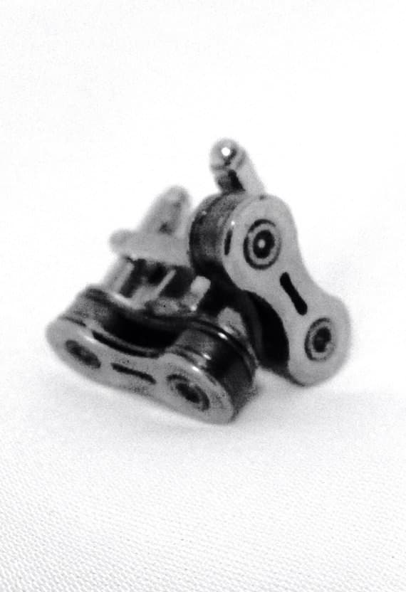 Upcycled Custom Bike Chain Cufflinks Accessories Upcycled Bicycle Parts