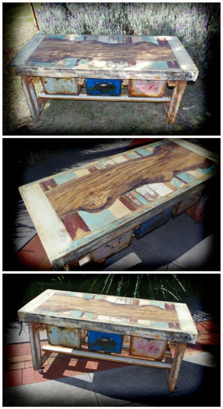 Pallet, Timber, Rusty Boxes, And Paint From The Bin To Make A Great Table