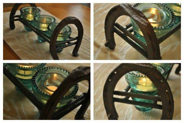 Vintage Glass and old horseshoes become a gorgeous centerpiece that is stable and unique.