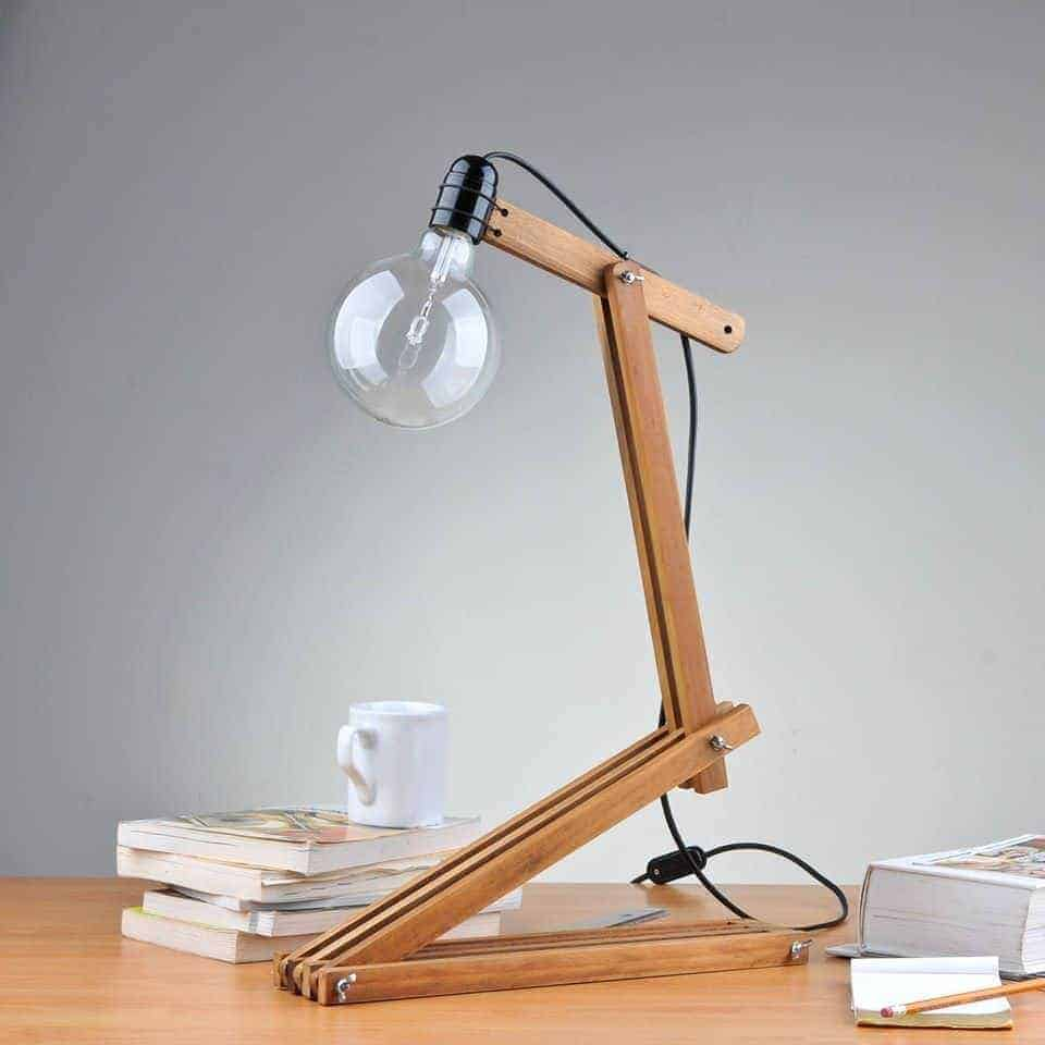 Amazing number 5 desk lamp from upcycled sunshade slats recyclart - Contemporary table lamps design ideas ...