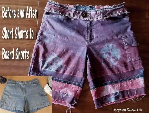 Denim Redo – Upcycled Tie Dye Denim Shorts – Short Shorts to Board Shorts Do-It-Yourself Ideas