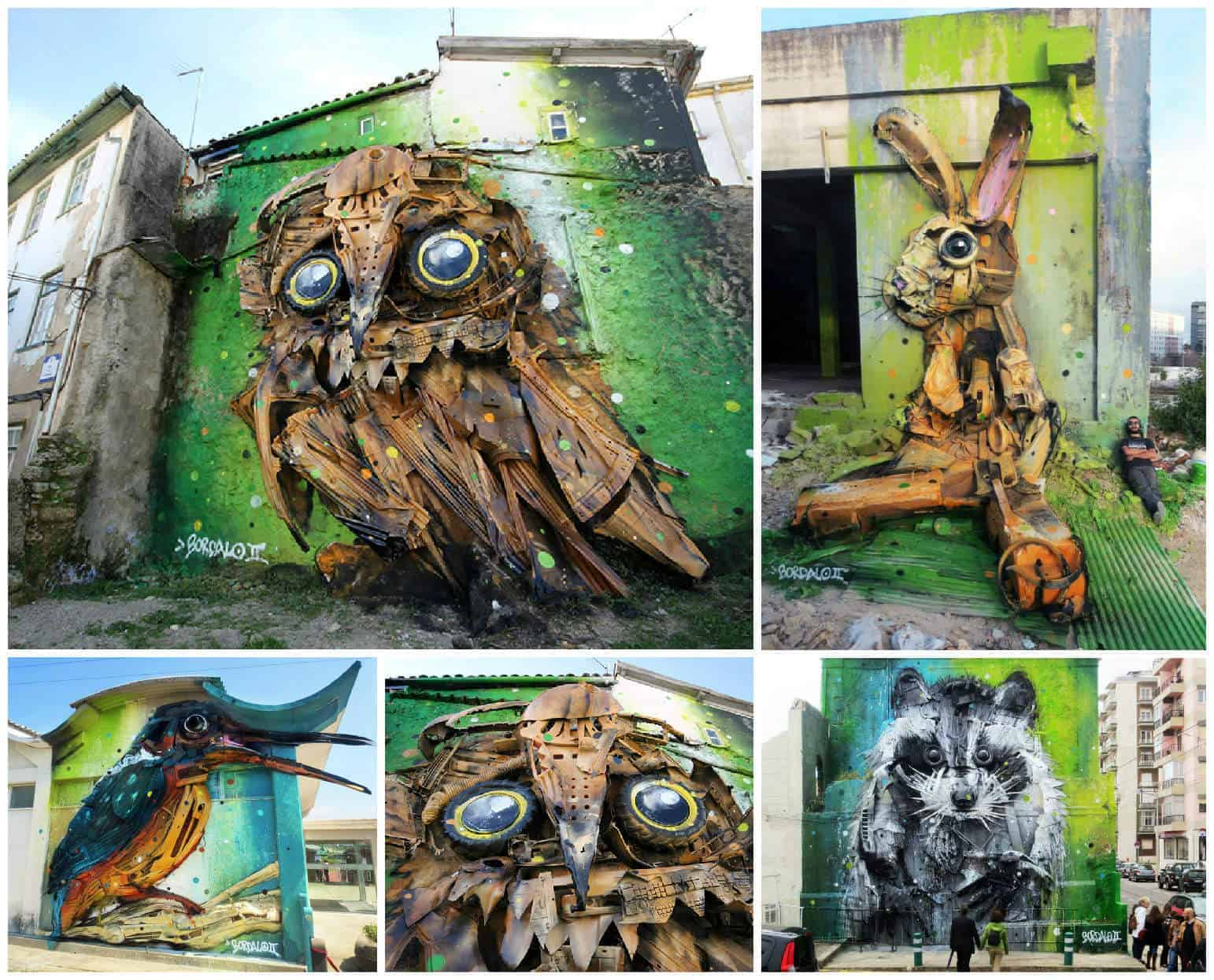 Street Art Created with Recycled Materials By Artur Bordalo • Recyclart
