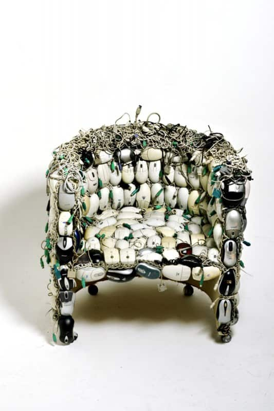 Chair Made Out Of 259 Upcycled Mice by Ana Carolina Lima Santos Recycled Electronic Waste Recycled Furniture