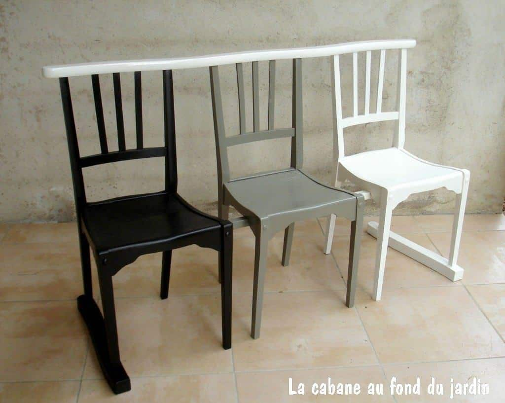banc 3 chaises de l 39 ombre la lumi re bench from 3 upcycled chairs recyclart. Black Bedroom Furniture Sets. Home Design Ideas