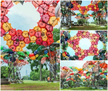Pavilion Constructed out of Broken Umbrellas and Bicycle Wheels