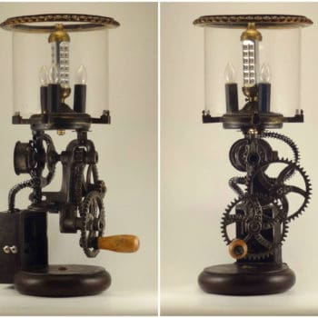 Dual Power Lamp Made Out Of 1900's Grinder