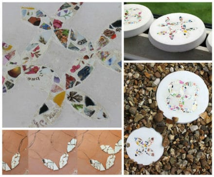 Patchwork Inspired Stepping Stones From Recycled Crockery