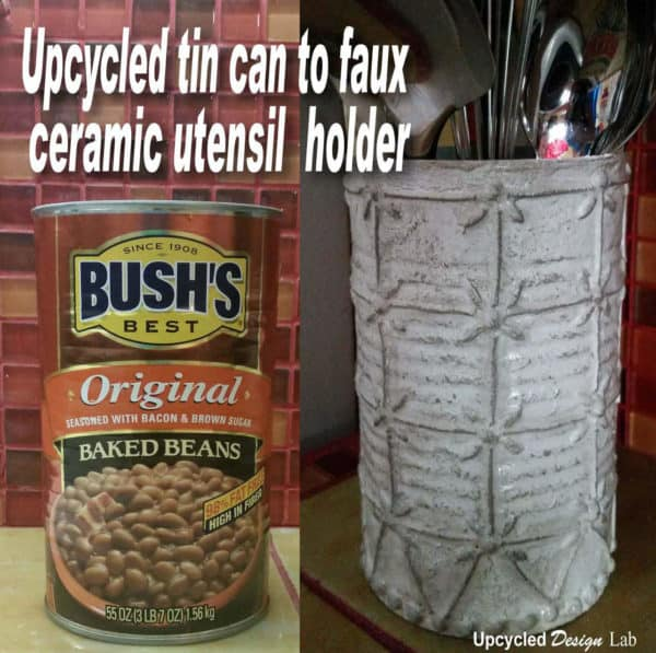 Upcycled Tin Can To Faux Ceramic Kitchen Utensil Holder Do-It-Yourself Ideas Recycling Metal