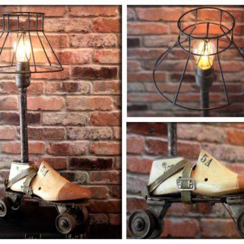 Industrial Re-purposed Vintage Wooden Shoe & Metal Roller Skate Up-cycled Steampunk Lamp