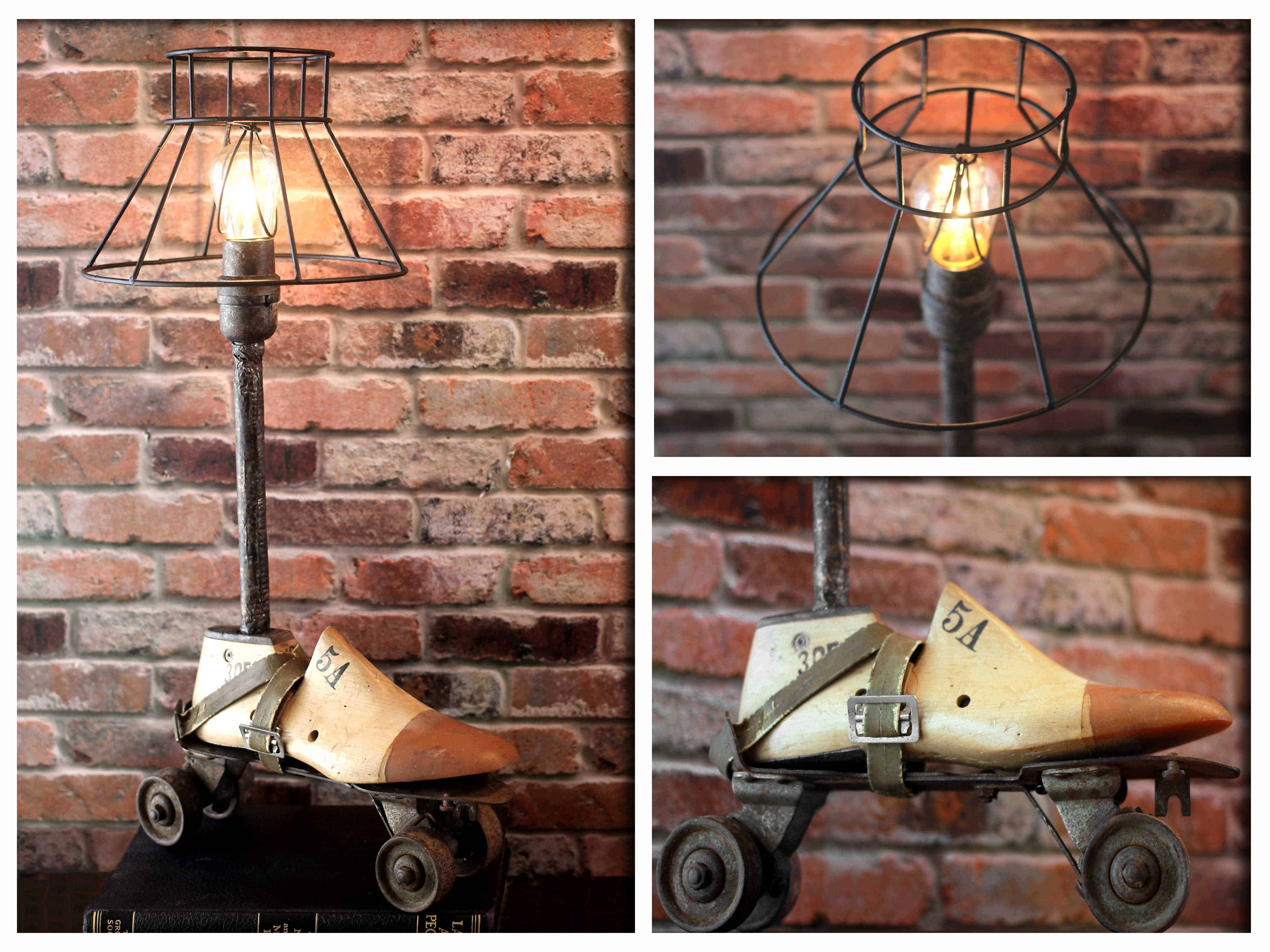 Ring In The Steampunk Decor To Pimp Up Your Home: Industrial Re-purposed Vintage Wooden Shoe & Metal Roller