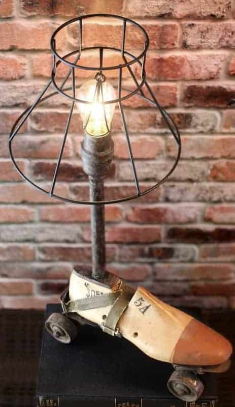 Industrial Re-purposed Vintage Wooden Shoe & Metal Roller Skate Up-cycled Steampunk Lamp Lamps & Lights