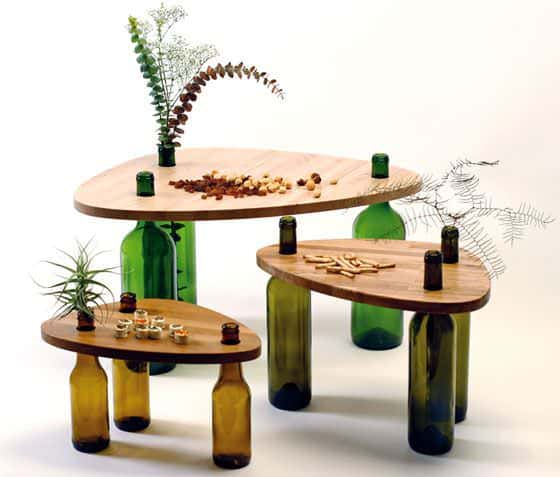 Side Tables Made From Reused Bottles And Wood By Tati Guimarães Recycled Furniture Recycled Glass