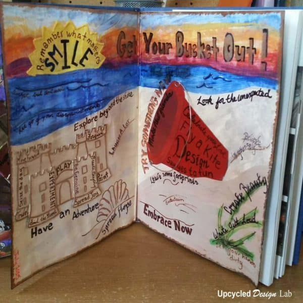 Old Book – Bucket List Art Journal Page #2 Recycling Paper & Books