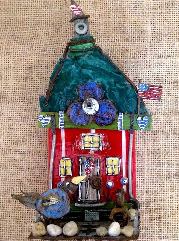 Little Red Chicken Coop Recycled Art