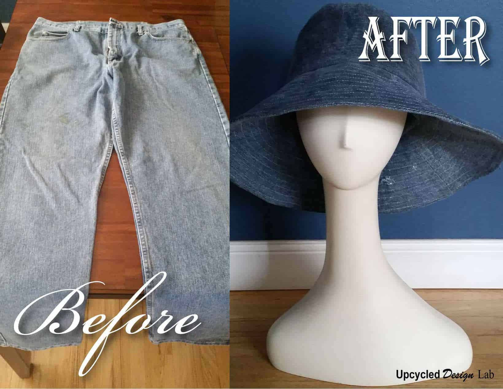 Men's Jeans to Wide Brim Hat with Faux Oil Cloth Finish • Recyclart
