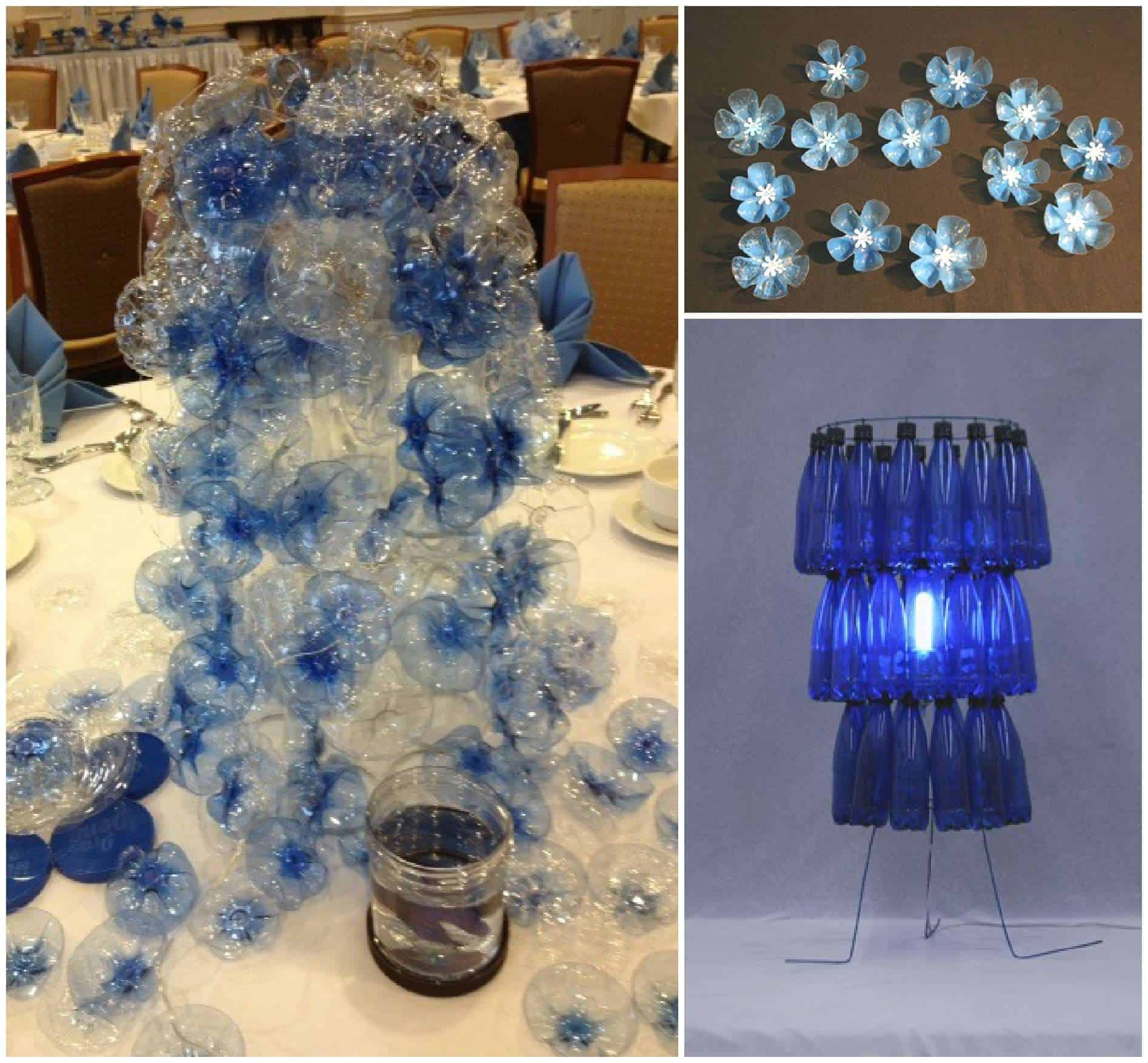 Table centerpieces made out of 1000 recycled water bottles for Water bottle recycling ideas