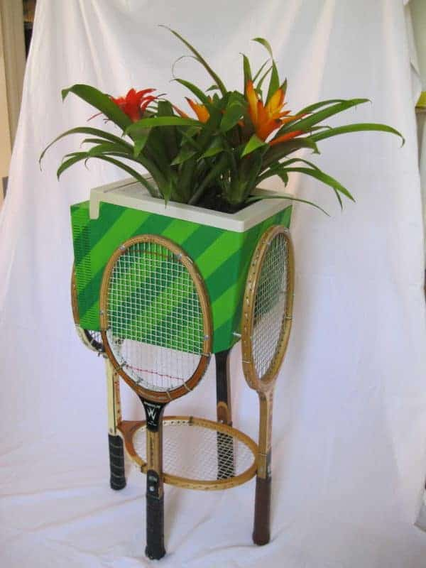 Planter From An Old Apple Computer & Wooden Tennis Rackets Recycled Electronic Waste