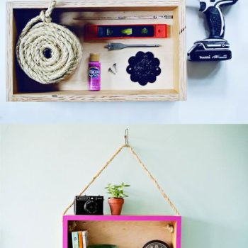 DIY: Upcycled Wooden Box Into Hanging Shelf